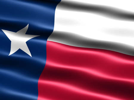 Computer generated illustration of the flag of the state of Texas with silky appearance and waves illustration