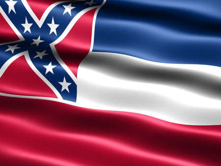 deep south: omputer generated illustration of the flag of the state of Mississippi with silky appearance and waves