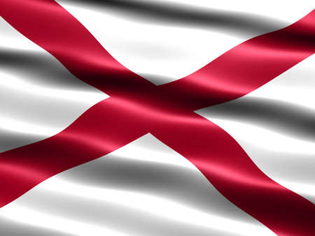 Computer generated illustration of the flag of the state of Alabama with silky appearance and waves Stock Illustration - 1079911