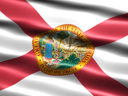 appearance: Computer generated illustration of the flag of the state of Florida with silky appearance and waves