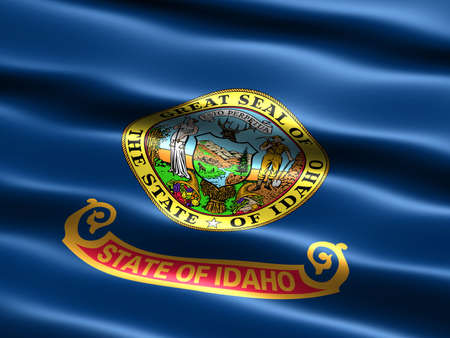pacific northwest: Computer generated illustration of the flag of the state of Idaho with silky appearance and waves