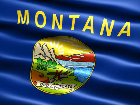 pacific northwest: Computer generated illustration of the flag of the state of Montana with silky appearance and waves