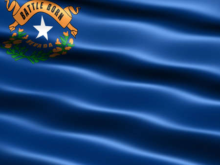 sagebrush: Computer generated illustration of the flag of the state of Nevada with silky appearance and waves Stock Photo
