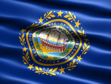 Computer generated illustration of the flag of the state of New Hampshire with silky appearance and waves illustration