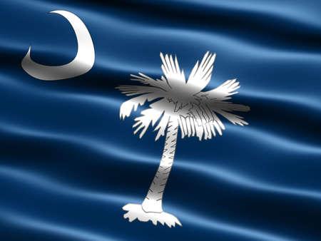 carolina del sur: Generado por ordenador ilustraci�n de la bandera del estado de Carolina del Sur con apariencia sedosa y ondas