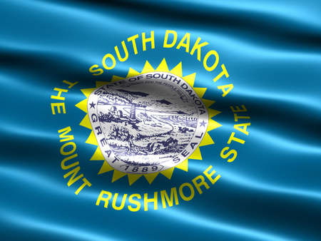 dakota: Computer generated illustration of the flag of the state of South Dakota with silky appearance and waves Stock Photo