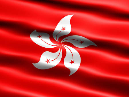 Flag of Hong Kong, computer generated illustration with silky appearance and waves Stock Illustration - 2366494
