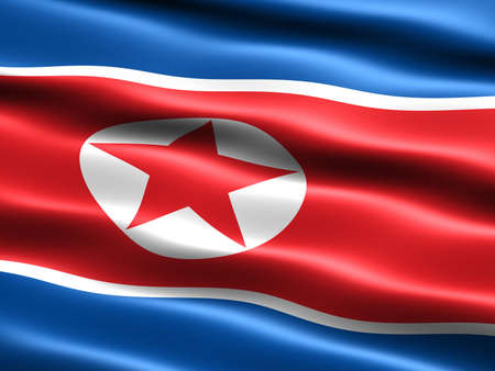 Flag of North Korea, computer generated illustration with silky appearance and waves illustration
