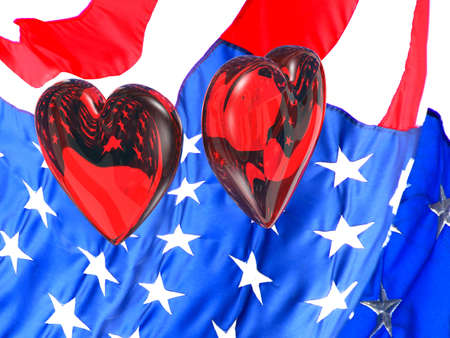 troops: Two glass hearts floating over an American flag with reflections and refractions. Show our troops that your heart is with them. Stock Photo