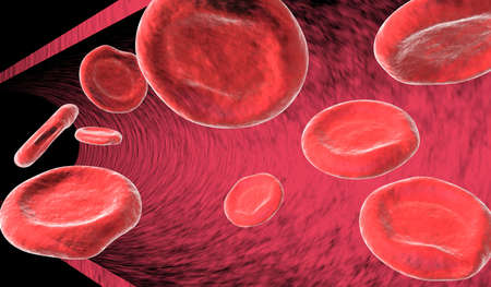 venous: 9 red blood cells (erythrocytes) floating by in artery. Stock Photo