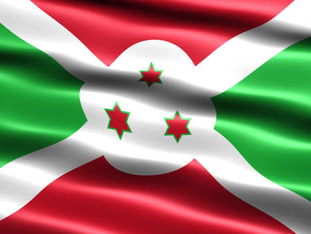 burundi: Flag of Burundi, computer generated illustration with silky appearance and waves Stock Photo