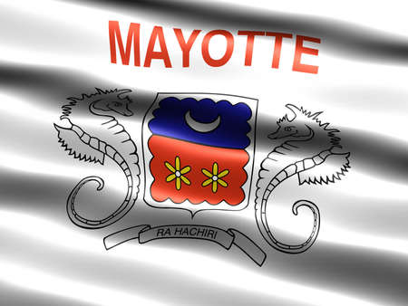 collectivity: Flag of Mayotte (unofficial, local), computer generated illustration with silky appearance and waves