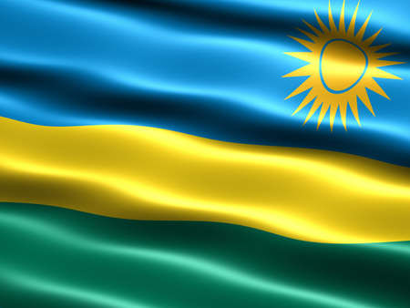 silky: Flag of Rwanda, computer generated illustration with silky appearance and waves