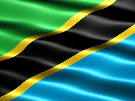 silky: Flag of Tanzania, computer generated illustration with silky appearance and waves Stock Photo