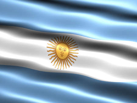 the appearance: Flag of Argentina, computer generated illustration with silky appearance and waves