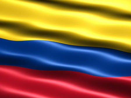 colombian: Flag of Colombia, computer generated illustration with silky appearance and waves