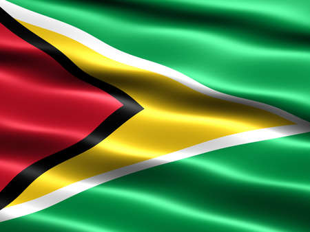 Flag of Guyana, computer generated illustration with silky appearance and waves illustration