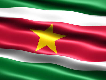 silky: Flag of Suriname, computer generated illustration with silky appearance and waves