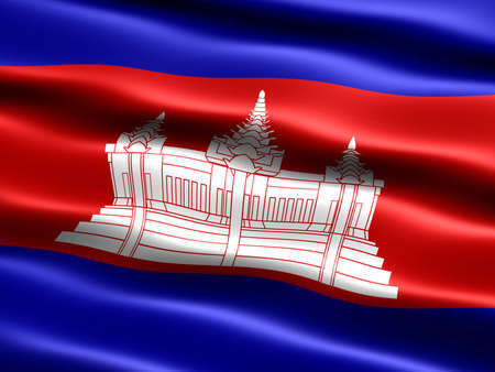 the appearance: Flag of Cambodia, computer generated illustration with silky appearance and waves