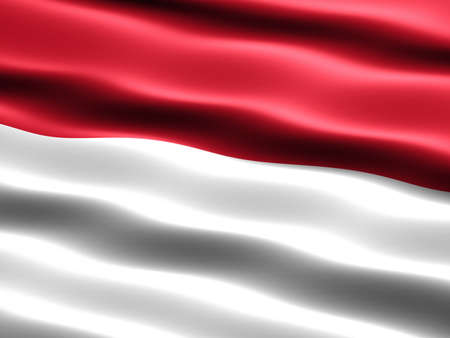 national flag indonesian flag: Flag of Indonesia, computer generated illustration with silky appearance and waves