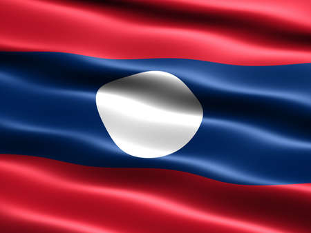 the appearance: Flag of Laos, computer generated illustration with silky appearance and waves