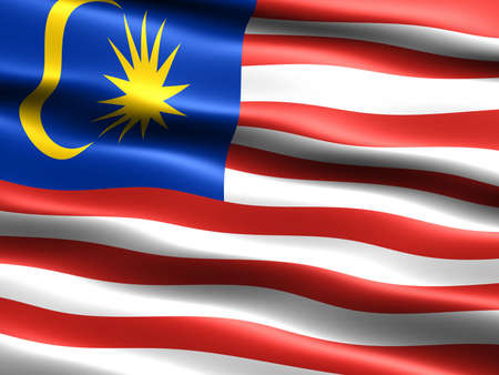 the appearance: Flag of Malaysia, computer generated illustration with silky appearance and waves Stock Photo