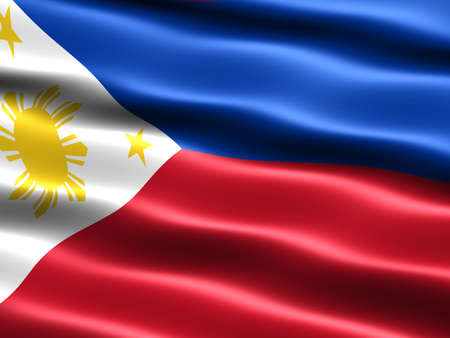 Flag of the Phillipines, computer generated illustration with silky appearance and waves illustration