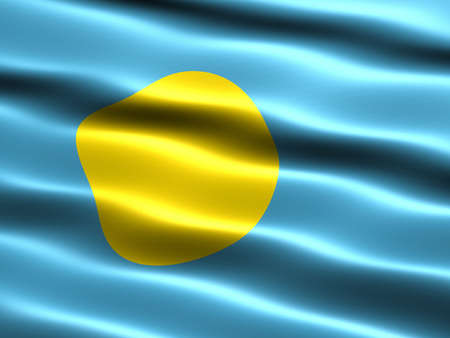 Flag of Palau, computer generated illustration with silky appearance and waves illustration