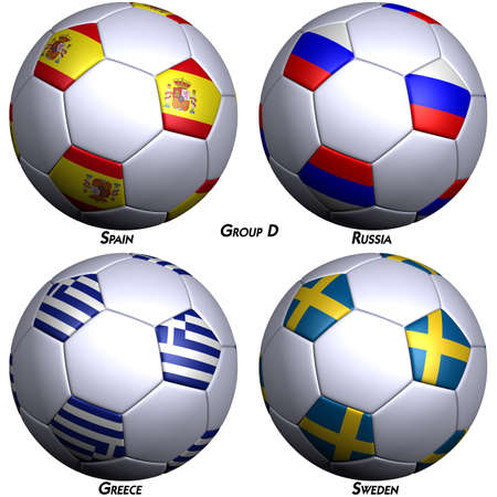 Four soccer-balls with flags of the countries in Group D in the European championship 2008. Hi-res 3D render with clipping path. photo