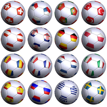 all european flags: Sixteen soccer-balls with the flags of all participating teams in the European championship 2008. Hi-res 3D render with clipping path. Stock Photo