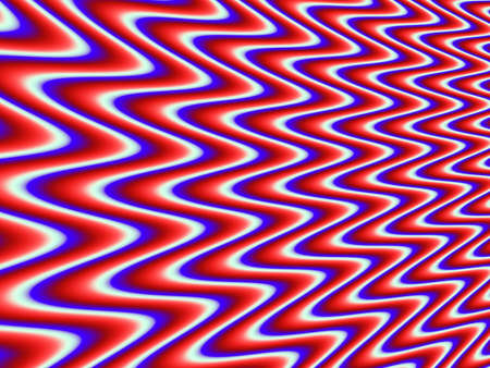 Psychedelic background with red, white, and blue ripples. Fractal with smooth gradients between the three colors.