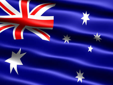 aussie: Flag of Australia, computer generated illustration with silky appearance and waves Stock Photo