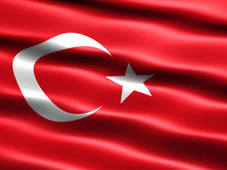 the appearance: Flag of Turkey, computer generated illustration with silky appearance and waves