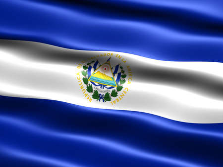 el salvador flag: Flag of El Salvador, computer generated illustration with silky appearance and waves
