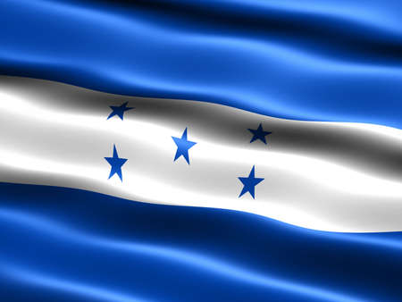 Flag of Honduras, computer generated illustration with silky appearance and waves illustration