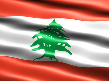 Flag of the Republic of Lebanon, computer generated illustration with silky appearance and waves illustration
