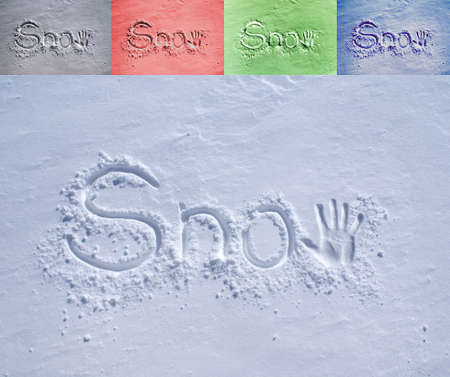 icey: The word Snow scribbled in fresh fallen snow with a hand print as the letter W. Easy adjustable to your color needs, 4 examples attached. Stock Photo