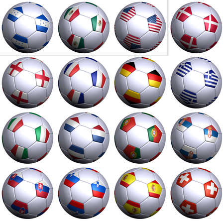 alphabetical order: Sixteen soccer balls of Nations competing in the Soccer World cup in South Africa 2010, isolated over white. North America, Central America with three teams and Europe with thirteen teams in alphabetical order.