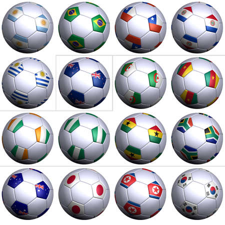 alphabetical order: Sixteen soccer balls of Nations competing in the Soccer World cup in South Africa 2010, isolated over white. South America with five teams, Oceania,  Africa with six teams, and Asia with four teams in alphabetical order. Stock Photo