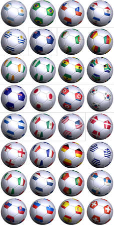 alphabetical order: Thirty-two soccer balls of the competing nations in the Soccer World cup in South Africa 2010. Separated by continents and  in alphabetical order.