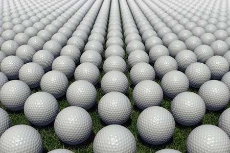 hundreds: Render with several hundreds of golf balls lined up on a meadow.  Stock Photo