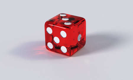 pips: Hi-res render of a rounded, red, acrylic die with refractions on a  bright surface. Layout of the pips is right-handed.