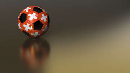indirect: High quality 3D render of a glossy soccer ball on golden metal surface. The hexagons carry the flag of Switzerland. Very beautiful background image ideal for HD Video productions.