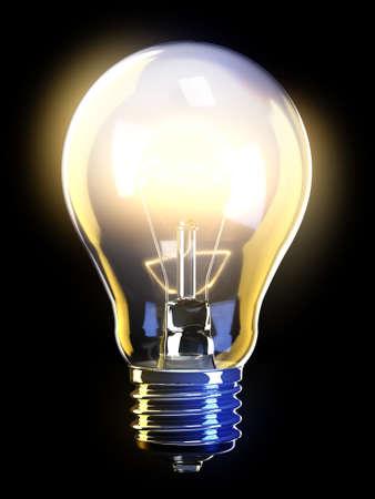 bombilla: L�mpara de luz brillante con filamentos detallada y cuerpo interior de cristal.  Foto de archivo