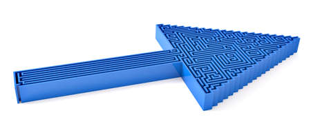 Blue arrow with maze over white photo