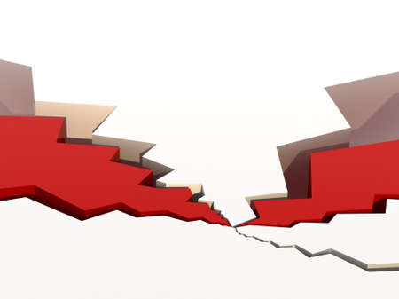 disruption: White, cracked surface with red fillings. High quality render of 5 surface cracks. Conceptual for disturbance, problems, or disruption. Stock Photo