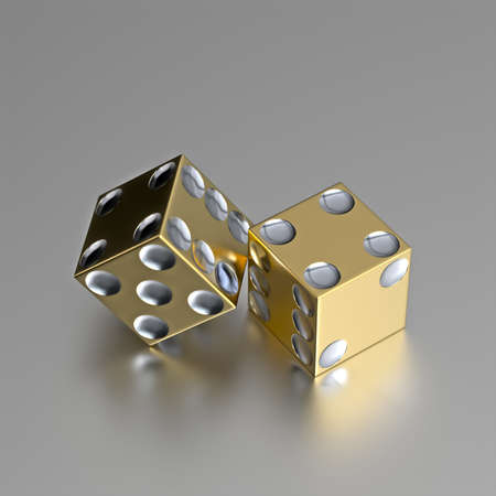 dices: Render of two right handed golden casino dice with silver eyes. Layout is accurate and razor border of these golden dice is also casino style with realistic materials on a slightly reflective metallic surface. Stock Photo