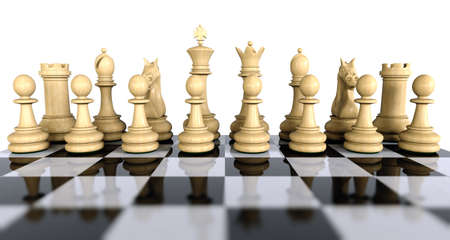 first move: White wooden chess game pieces on a reflective chess board isolated over white. Whats the first move? Stock Photo