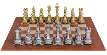 High-detail 3d-render of a  metal chess set on a wooden board isolate over white. photo