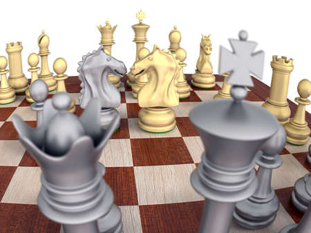 Close-Up of a metal chess set on a wooden board, isolated over white with knights confronting. photo